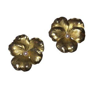 14 kt Gold Vermeil Sterling Flower Earrings with C